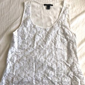 Forever 21 Floral/Sheer White Tank Top